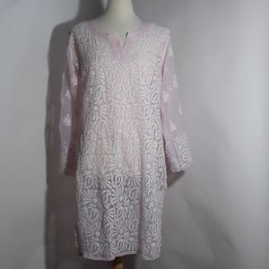 Tops - Kurti pink and white with flora embroidery